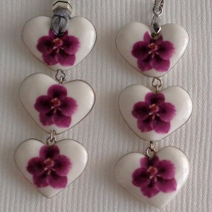 Heart shape pendant, vanda style C, striped, Reddish Violet, Small x 3 pcs.