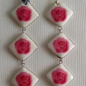 Vertical square shape pendant, blooming rose, Small x 3 pcs.