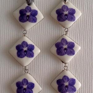 Vertical square shape pendant,  vanda style A, striped, Purple, Small x 3 pcs.